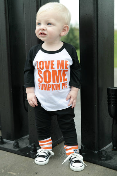 pumpkin pie raglan thanksgiving shirt for kids