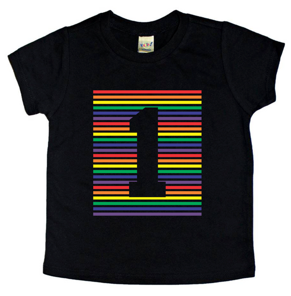 ALL AGES- RAINBOW STRIPE BIRTHDAY TEES