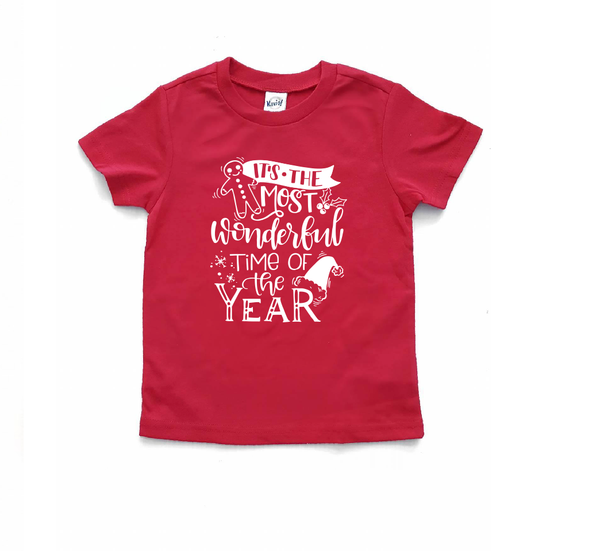 Kids Christmas Shirt - Wonderful time of the year - Red Color