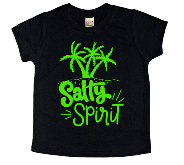 salty spirit summertime palm tree shirt for kids.