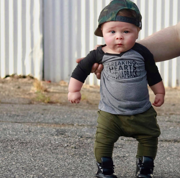 Breaking hearts in my snapback raglan - cute baby boy clothes