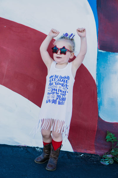 Star spangled banner fringe dress for girls