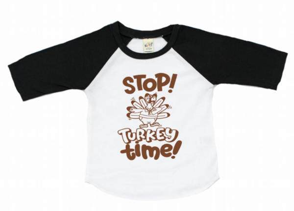 Stop Turkey time! Thanksgiving baseball shirt for kids