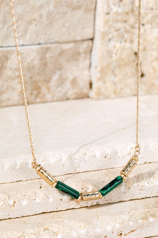 In the Wind Hammered Metal and Bead Necklace-Malachite-[option4]-[option5]-Cute-Trendy-Shop-Womens-Boutique-Clothing-Store