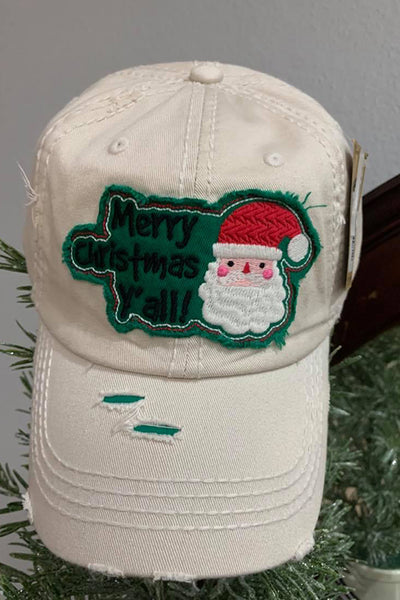Merry Christmas Y'all Ballcap-Stone-[option4]-[option5]-Cute-Trendy-Shop-Womens-Boutique-Clothing-Store