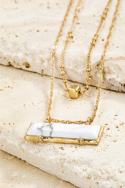 What A Tale Natural Stone Bar Necklace-White-[option4]-[option5]-Cute-Trendy-Shop-Womens-Boutique-Clothing-Store