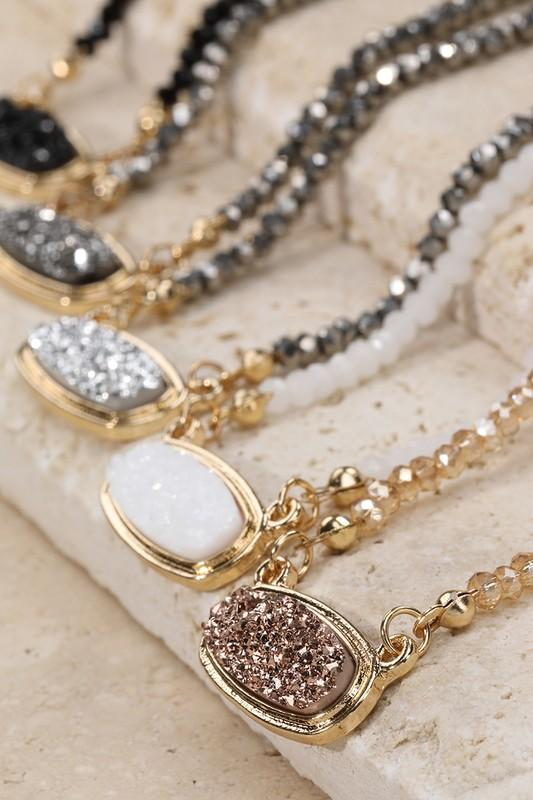 In the Details Glass Bead Druzy Necklace Necklaces More Colors Available