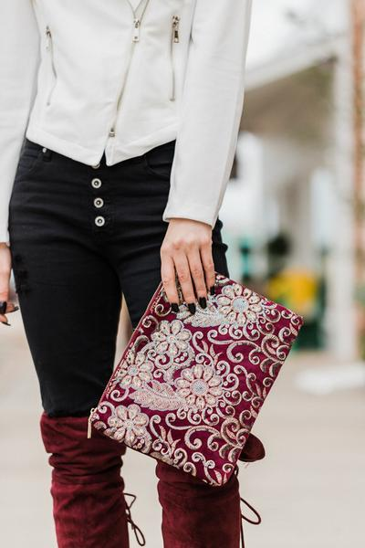 Burgundy Velvet Clutch Purses great Christmas gift ideas women's gifts Christmas gifts under $100.