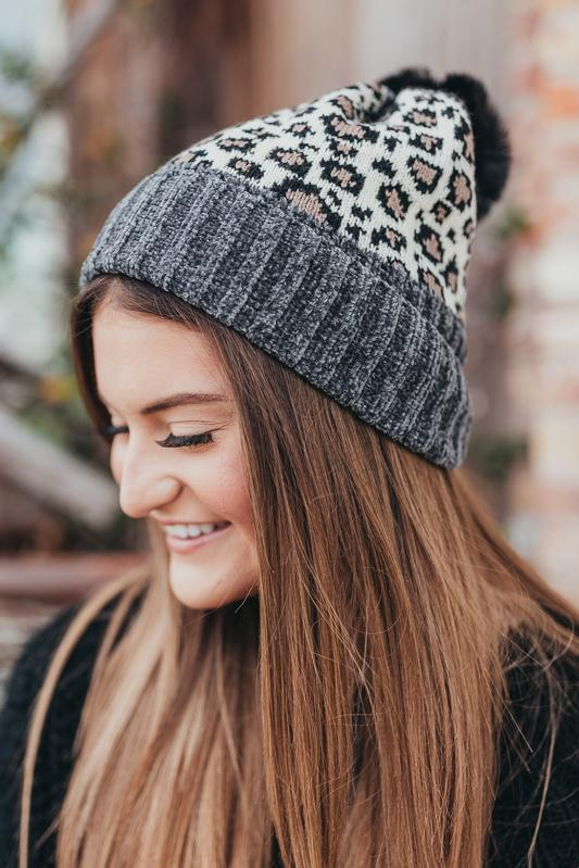 Like a Rockstar Leopard Beanie Hats More Colors Available Grey