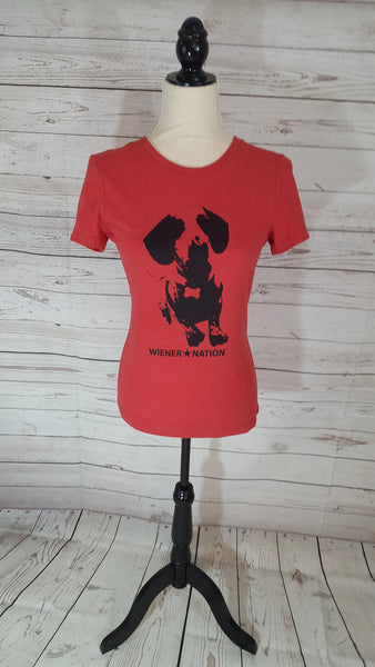 Wiener Nation Women's T-Shirt Shown in Vintage Red