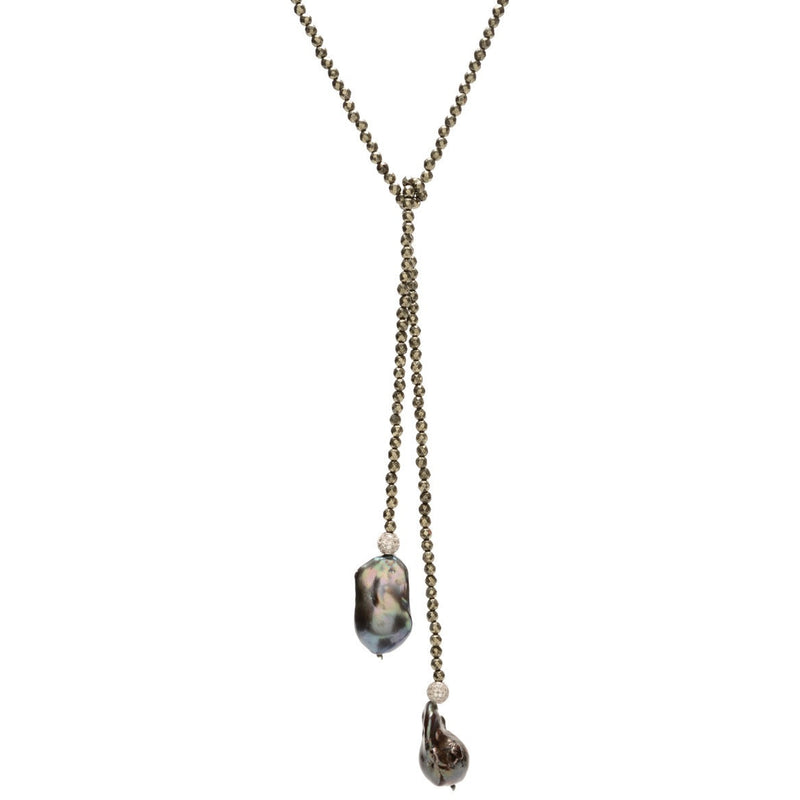 Pyrite and Grey Baroque Pearl Lariat