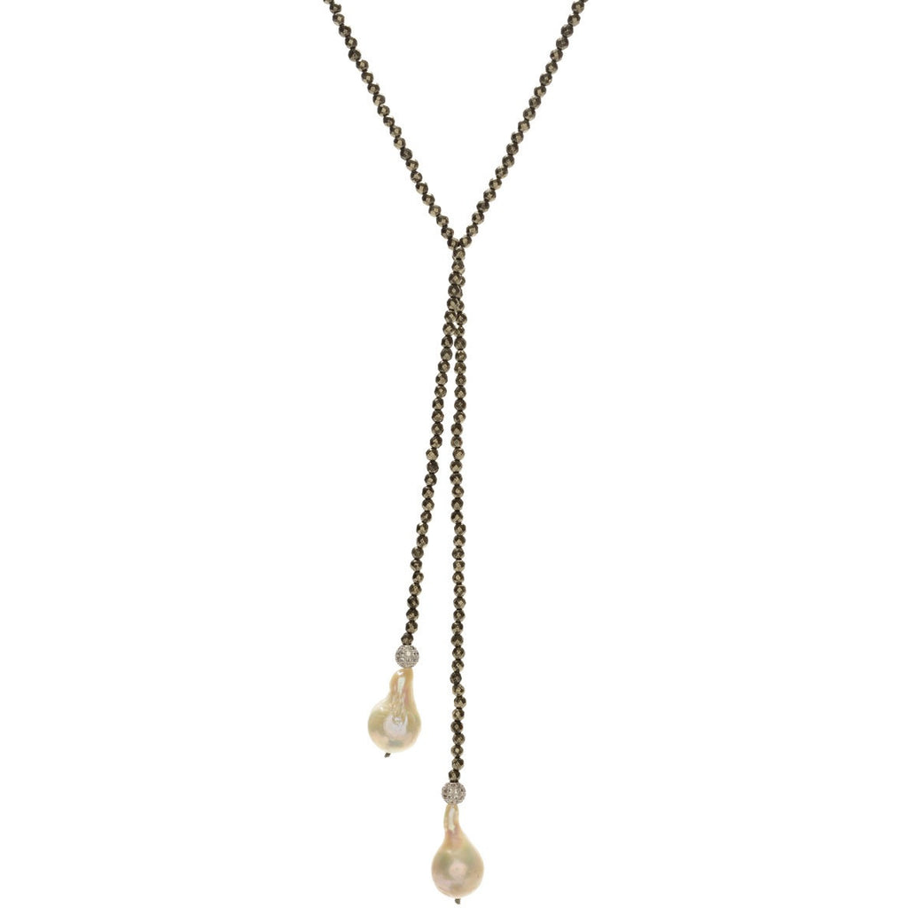 Pyrite and White Baroque Lariat