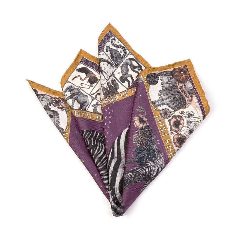 Horses Purple Pocket Square
