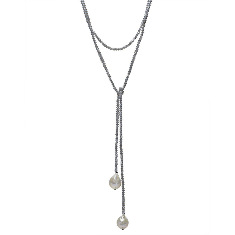 Denim Crystal Lariat