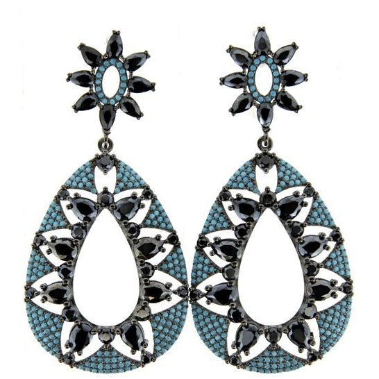 Blue & Black Statement Earring