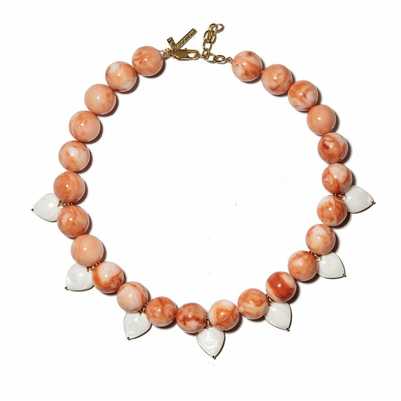 Coral Heart Charm Necklace