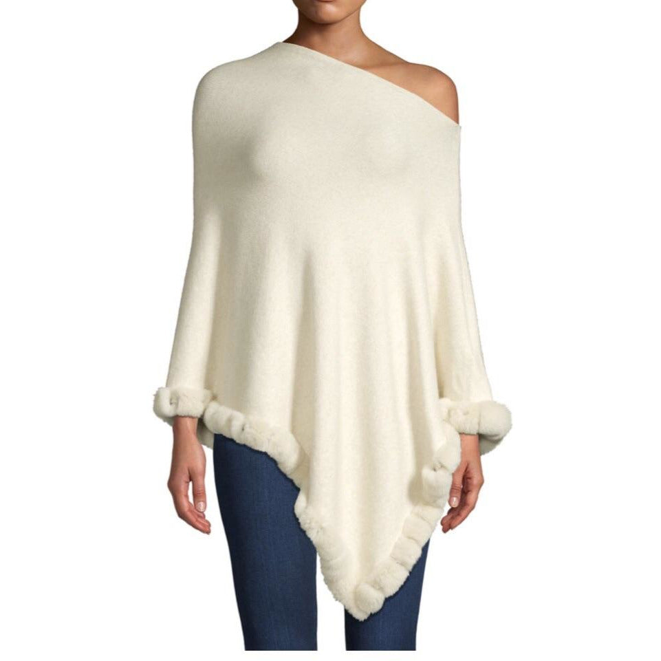 Cream fur poncho