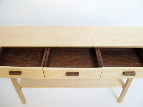 Drawer interiors just a lovely as the rest of this entry table made from tiger maple and walnut