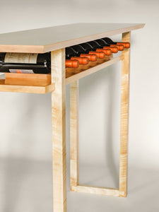 Console table with wine rack - tasting table - dining room furniture