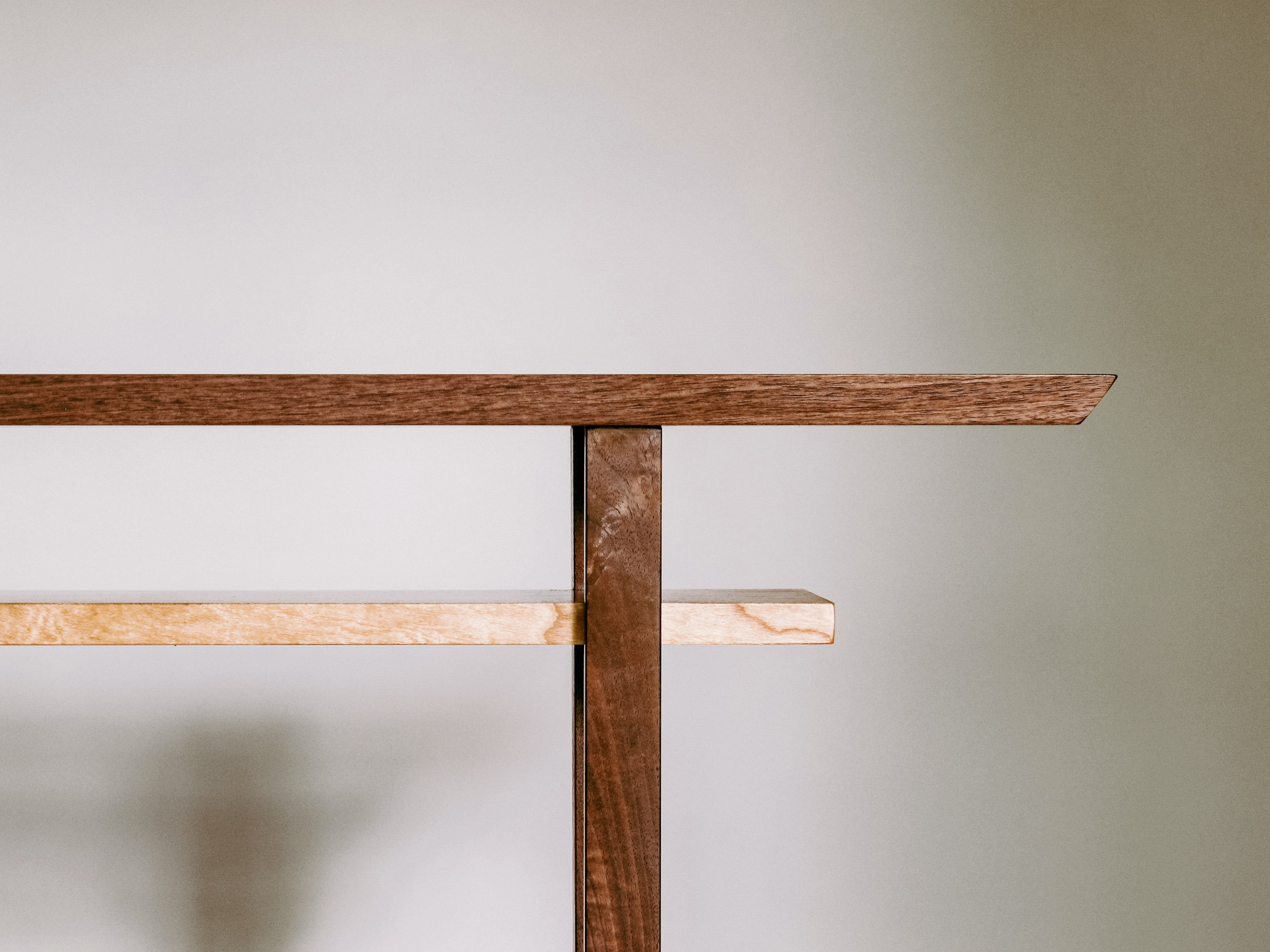 Minimalist console table created from walnut and cherry