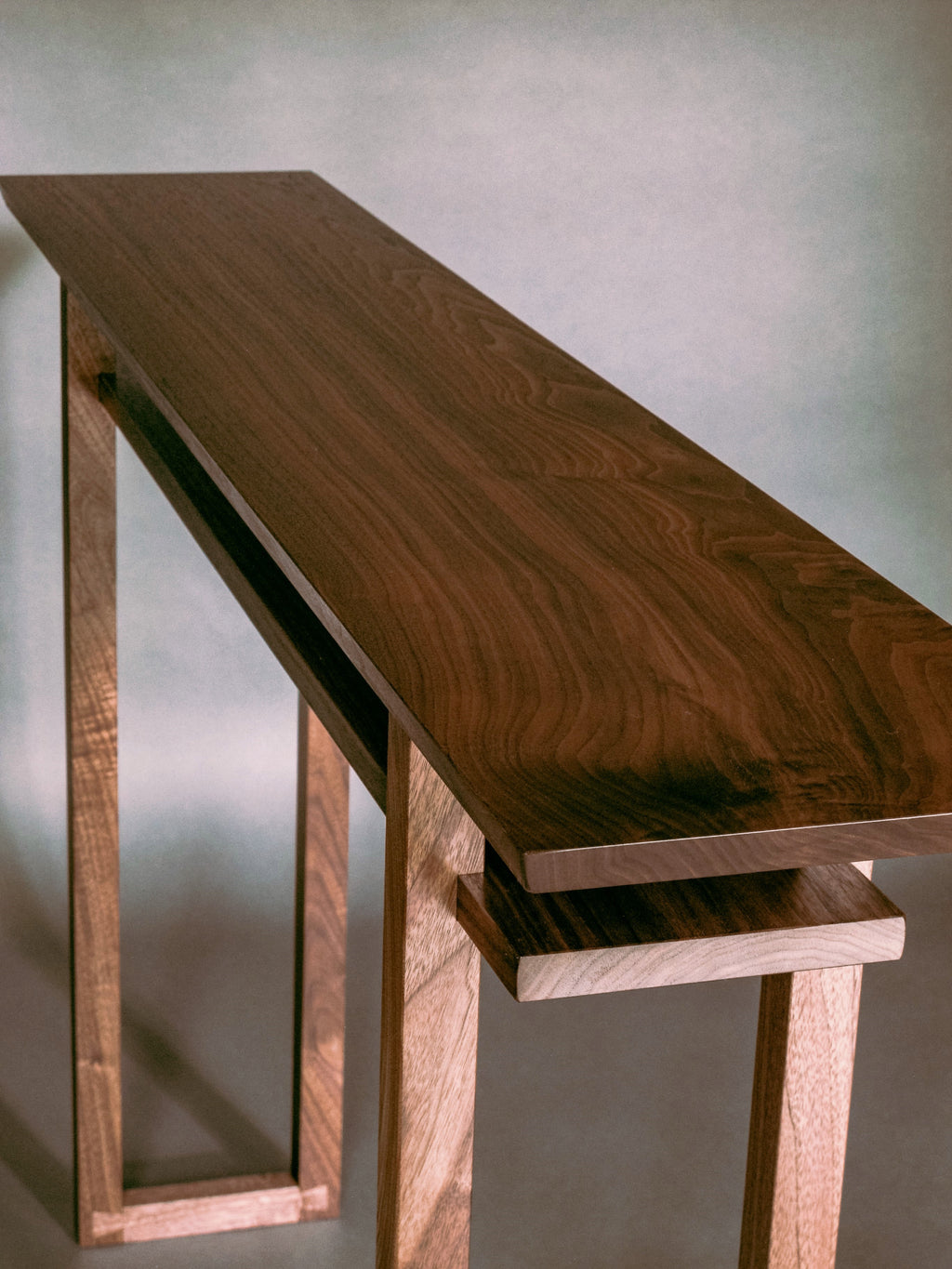 solid walnut console table - artistic hand-crafted wood furniture