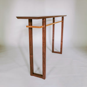 Narrow console table in walnut and cherry