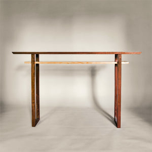 Modern wood console table in traditional wood tones of walnut and cherry