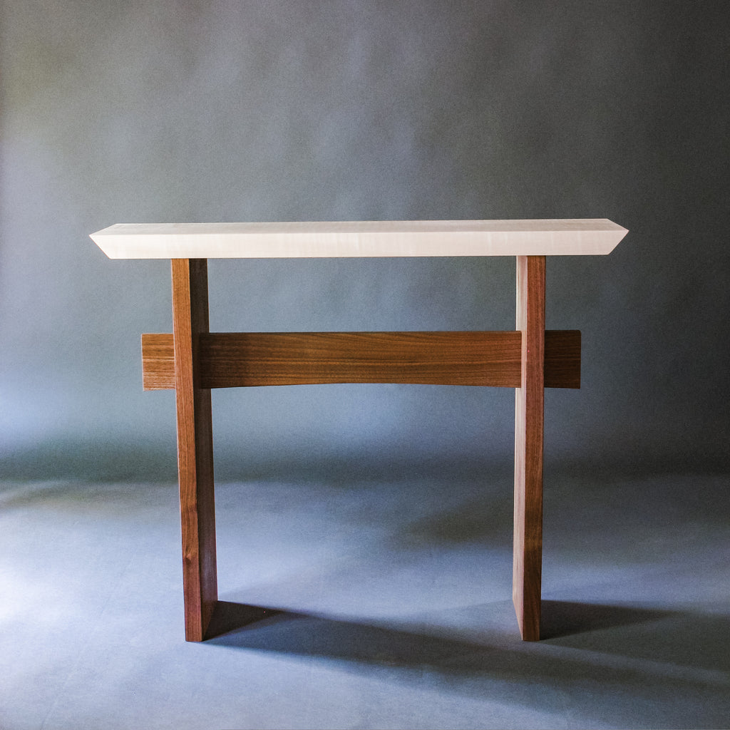 The Statement Hall Table - Tiger Maple with Walnut