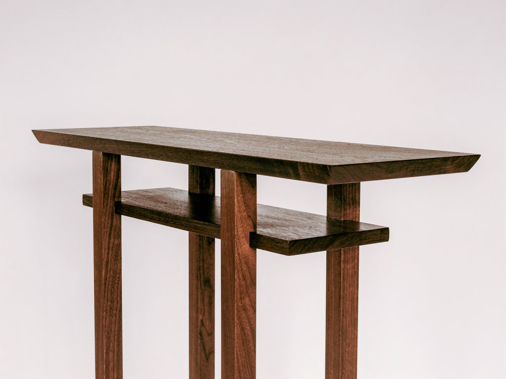 minimalist side table in solid walnut