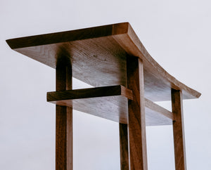 A modern zen furniture design for a hallway table or entryway console - live edge walnut