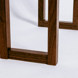 Our Live Edge Side Table features fine craftsmanship details like these dovetail feet