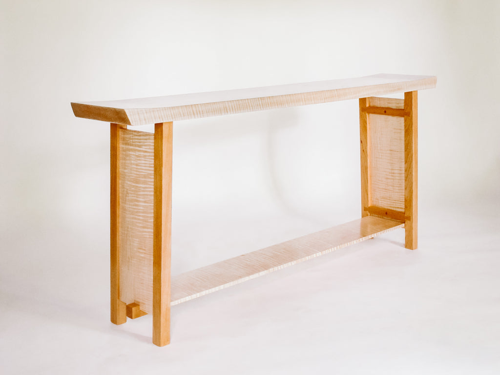 The Shaped Console Table – Tiger Maple with Cherry