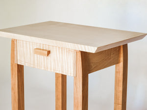 End Table with Drawer – Tiger Maple with Cherry