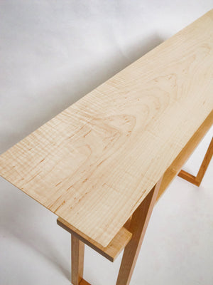 The Designer Console Table - Tiger Maple with Cherry