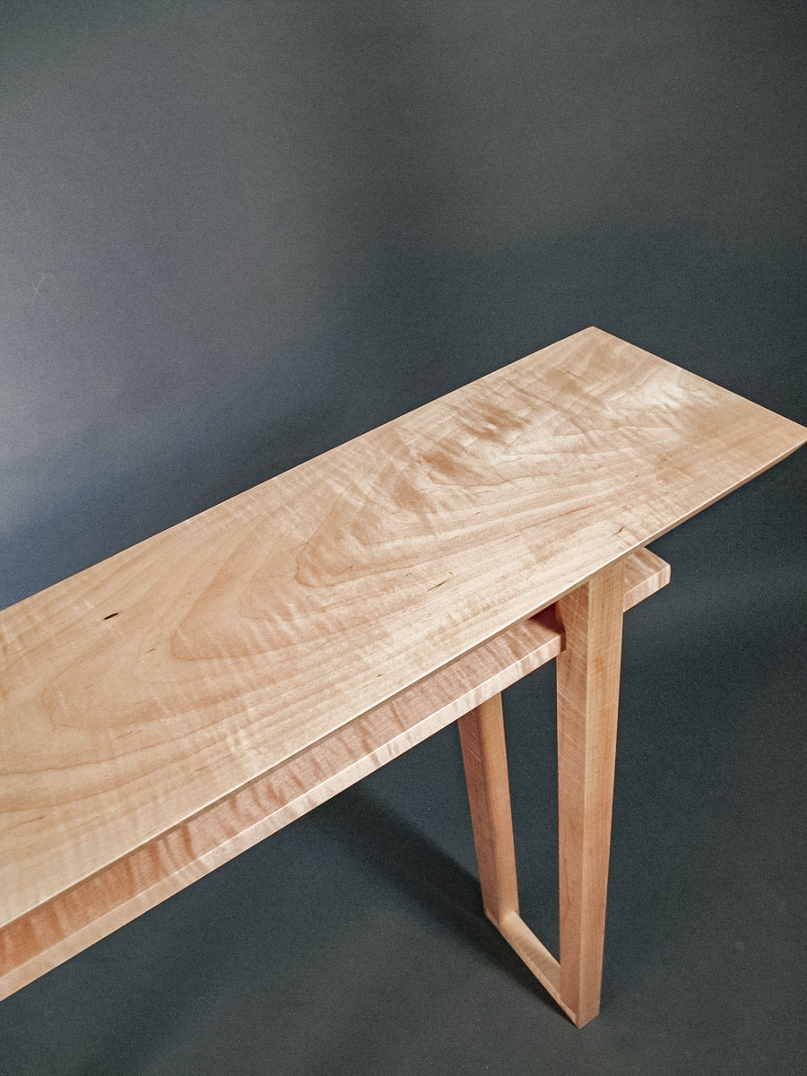 Solid tiger maple narrow console table