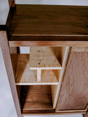 tiger maple display shelving on walnut bar cabinet - dry bar storage