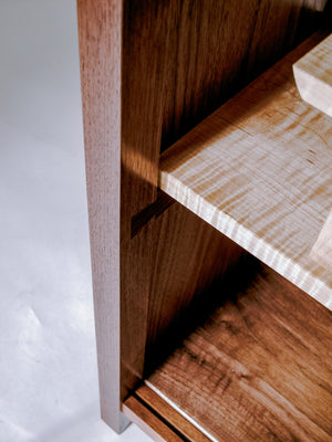 visible dovetails - handmade wood bar cabinet
