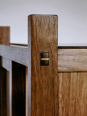 hand-cut mortise and tenon with wedge - modern bar cabinet in solid walnut