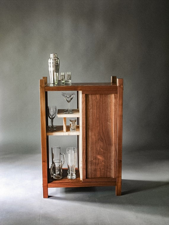 walnut bar cabinet - dry bar - small cabinet with sliding door