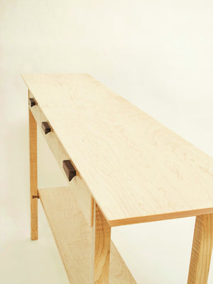 a narrow wood table perfect for a hall table, sleek side table or elegant entryway piece