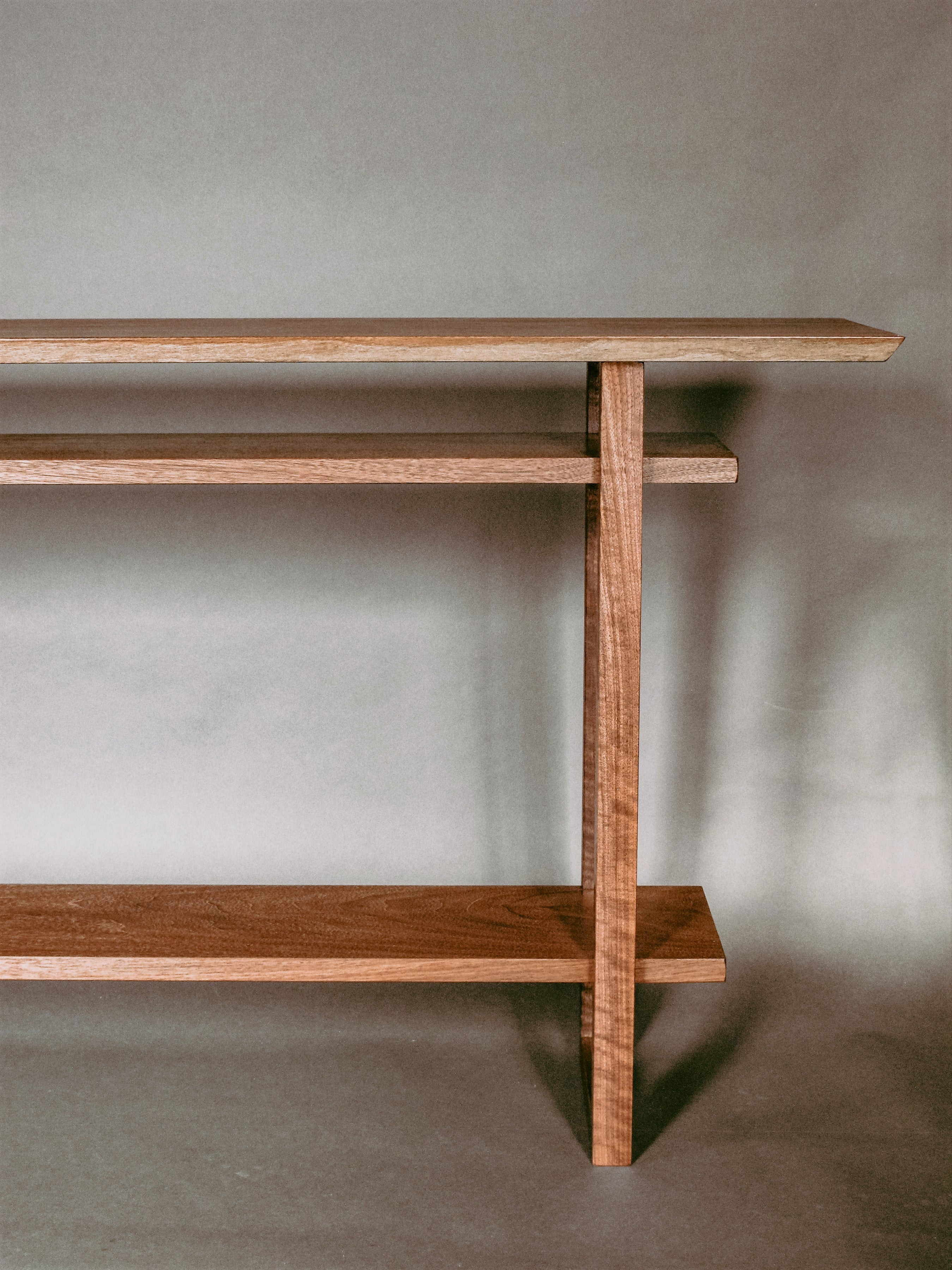 Console table in solid walnut modern wooden furniture for hallways