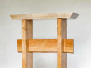 Tiger maple with cherry and a live edge cherry stretcher - handmade wood furniture