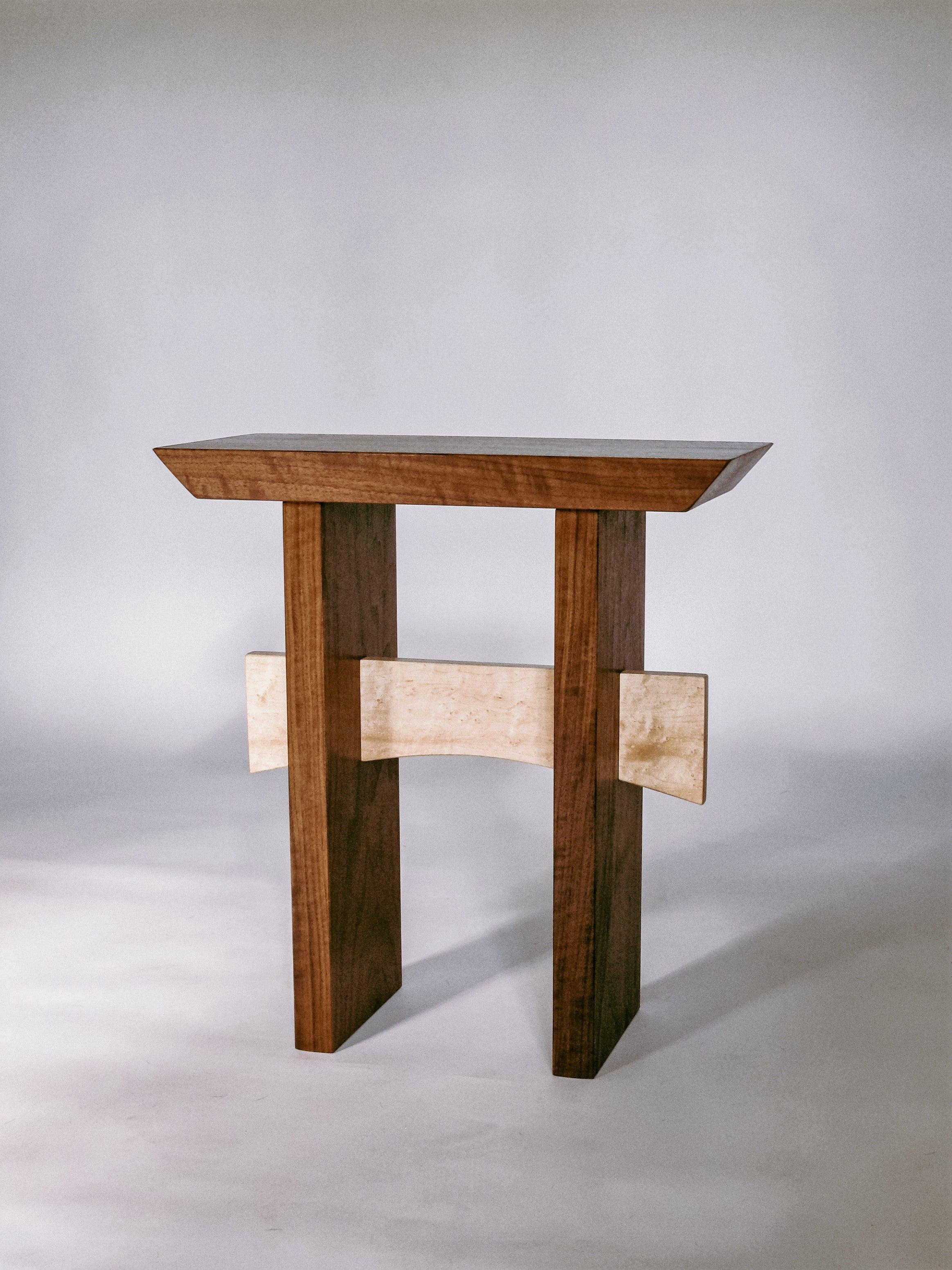 walnut and tiger maple small end table