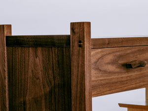 mortise and tenon with wedge - traditional woodworking techniques refined for a modern console cabinet