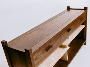 a framed table top for our walnut cabinet with drawers