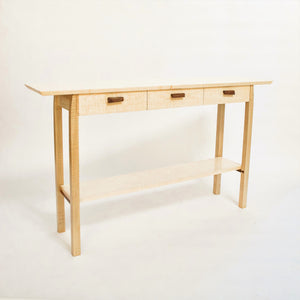 entryway console table with three drawers - handmade from tiger maple and walnut