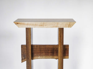tall small entry table with live edge walnut stretcher