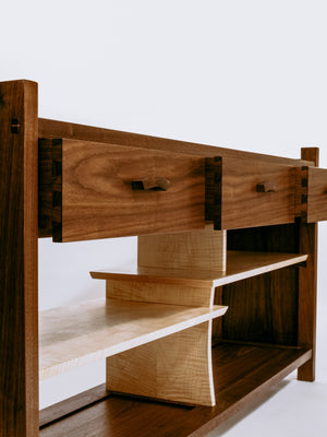 solid wood console cabinet with dovetailed drawers