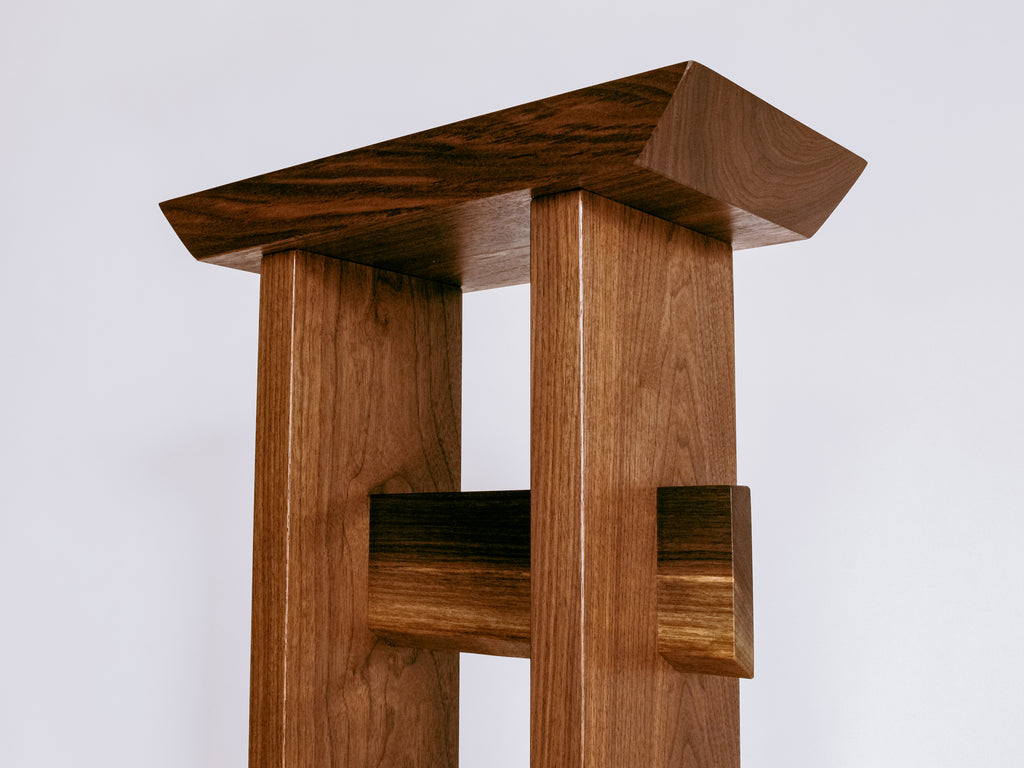 Solid walnut Statement Table - tall small table for entryway decor