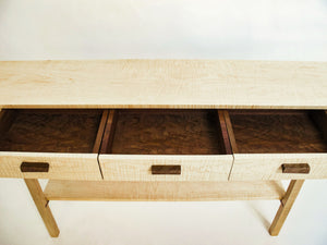 solid walnut drawer interiors on our entry console table